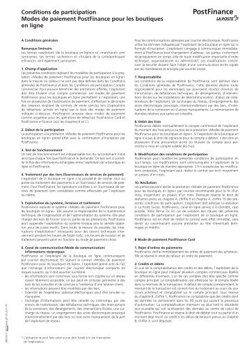Conditions de participation E-payment (PDF) - PostFinance