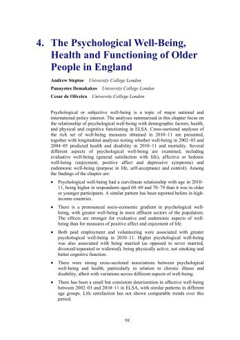 The psychological well-being, health and functioning of older people ...