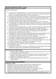 Dipartimento di Biologia, Chimica e Scienze Finalità ed obiettivi ...