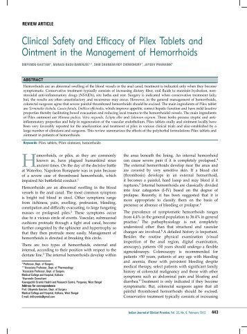 Clinical Safety and Efficacy of Pilex Tablets and Ointment ... - medIND