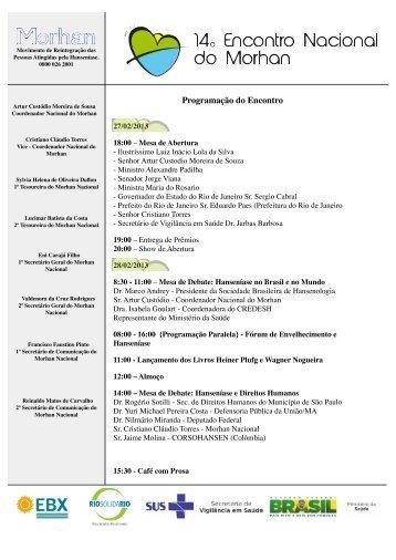 Programação Final do XIV Encontro Nacional do Morhan