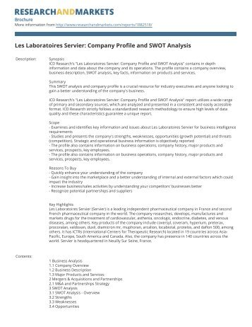 Les Laboratoires Servier: Company Profile and SWOT Analysis
