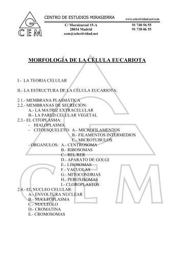 morfología de la célula eucariota i.- teoria celular - Selectividad