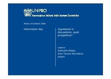Ingredienti in discussione quali prospettive - Unipro