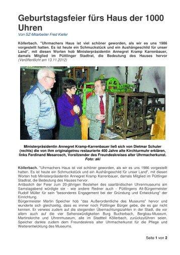 Zum Bericht der Saarbrücker Zeitung - Uhrenmuseum