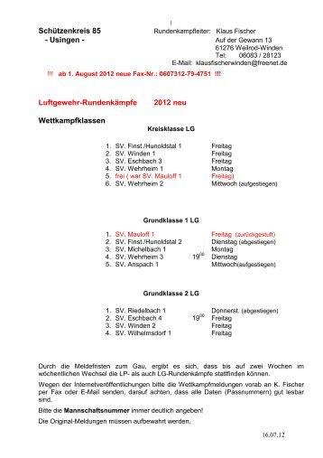 Teilnehmende Vereine/Mannschaftsführer ... - Schützenkreis 85