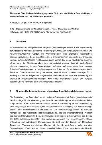 Alternative Oberflächenabdichtungssysteme für in ... - IFAS-Hamburg