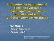 Le Syntocinon ® dans le traitement des dystocies dynamiques sur ...