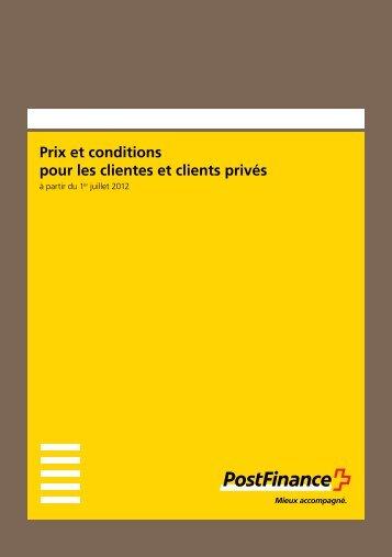 Prix et conditions pour les clientes et clients priv