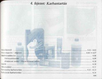 I 4. fejezet: Karbantartás - Renault Megane Klub