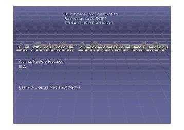 Alunno: Pastore Riccardo III A Esami di Licenza Media 2010-2011