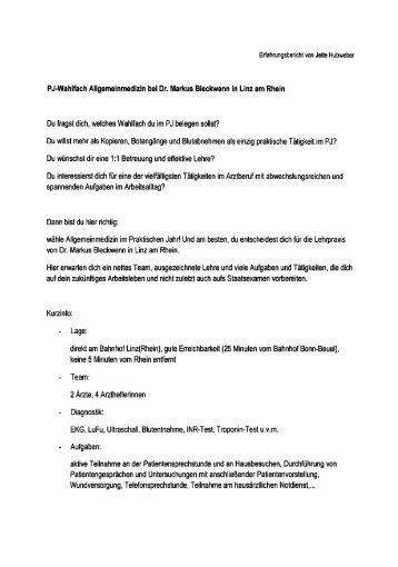 PJ-Wahlfach Allgemeinmedizin bei Dr. Markus Bleckwenn in Linz ...