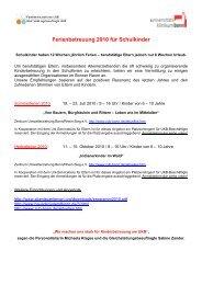 Ferienbetreuung 2010 für Schulkinder