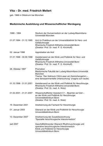 Vita – Dr. med. Friedrich Mellert - Universitätsklinikum Bonn ...