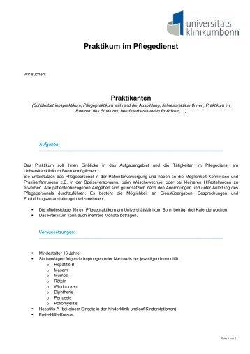 Praktikum im Pflegedienst - Universitätsklinikum Bonn