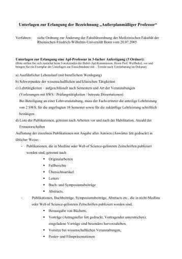 Verfahren zur Erlangung der Bezeichnung ... - Universität Bonn