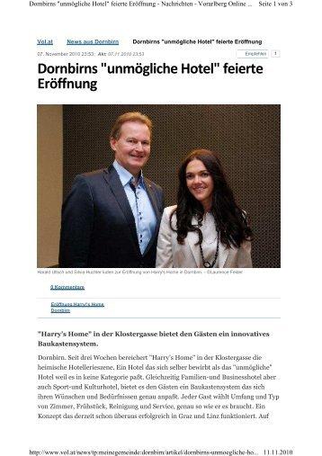 """Dornbirns """"unmögliche Hotel"""" feierte Eröffnung - Harry's Home Hotels"""