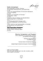 Kalte Vorspeisen Warme Vorspeisen und Suppen - Hartmaiers Villa ...