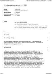 Beschluss VG Aachen3 L 113/09 vom 18.05.2009