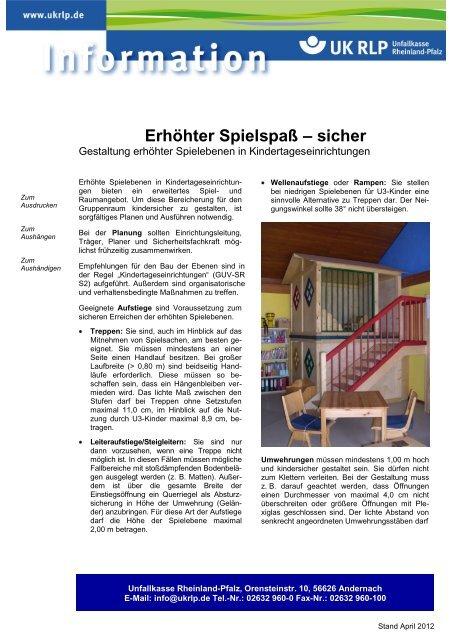 Erhöhter Spielspaß Sicher Unfallkasse Rheinland Pfalz