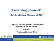 """Fachvortrag """"Burnout"""" - Unfallkasse Rheinland-Pfalz"""