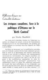 Les évêques canadiens, face à la politique d'Ottawa sur le