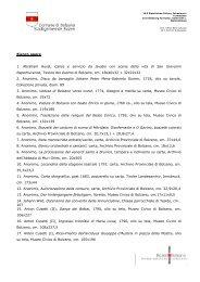 Elenco opere - Comune di Bolzano