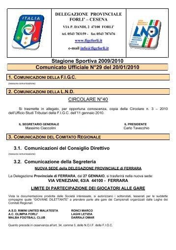 Stagione Sportiva 2009/2010 Comunicato Ufficiale N°29 ... - Figc Forlì