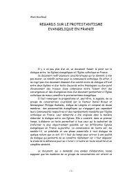 regards sur le protestantisme evangelique en ... - ISEO 2006-2007