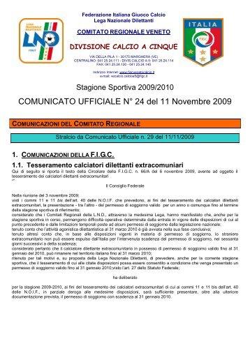 COMUNICATO UFFICIALE N° 24 del 11 Novembre ... - PSV Calcio a 5