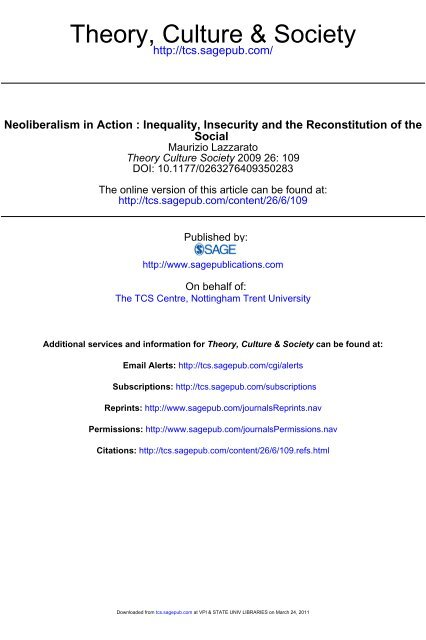 Neoliberalism in Action Inequality, Insecurity and the Reconstitution ...