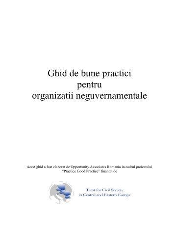 Ghid de bune practici pentru organizatii neguvernamentale - Cod de ...
