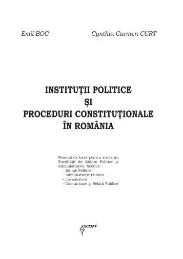 INSTITUŢII POLITICE ŞI PROCEDURI CONSTITUŢIONALE ÎN ...