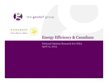 Energy Efficiency & Canadians: National Opinion Research for CEEA