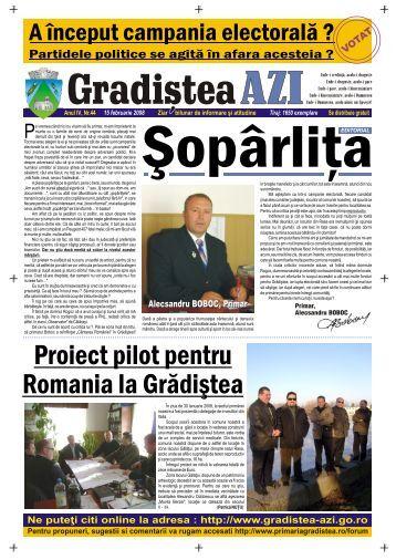 Proiect pilot pentru Romania la Grădiºtea - Gradistea AZI