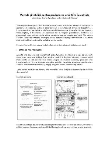 Metode și tehnici pentru producerea unui film de ... - ActiveWatch
