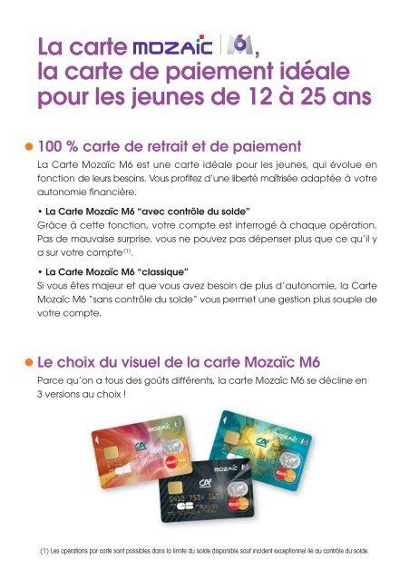Carte Mozaïc M6 - Crédit Agricole Alsace Vosges