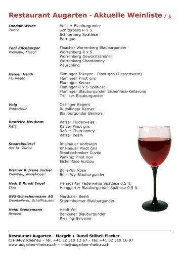 Restaurant Augarten - Aktuelle Weinliste / 1 - Augarten Rheinau