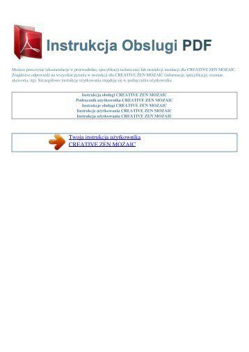 zen mozaic - INSTRUKCJA OBSLUGI PDF
