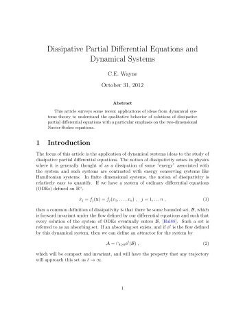 Dissipative Partial Differential Equations and Dynamical Systems