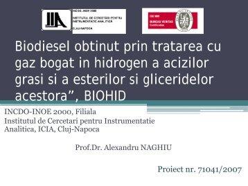 Biodiesel obtinut prin tratarea cu gaz bogat in hidrogen a ... - ICIA