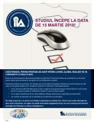 STUDIUL ÎNCEPE LA DATA DE 15 MARTIE 2010! - AAIR