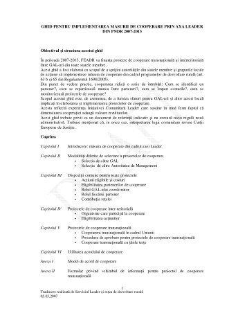 ghid pentru implementarea masurii de cooperare prin axa ... - MADR