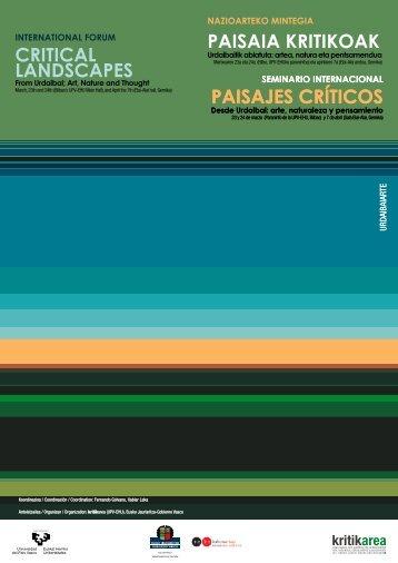 cartel Paisajes Criticos - Universidad del País Vasco