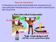 Tipuri de interacţiuni O interacţiune sau forţă fundamentală este ...