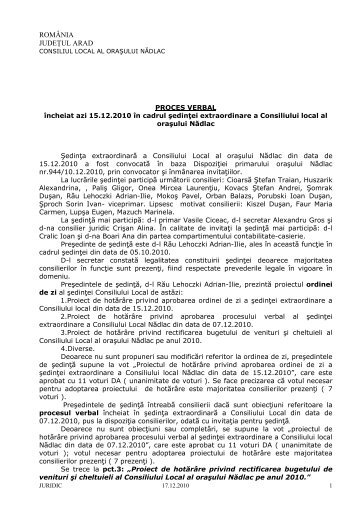 Proces verbal CL 15.12.2010 - Primaria orasului Nadlac