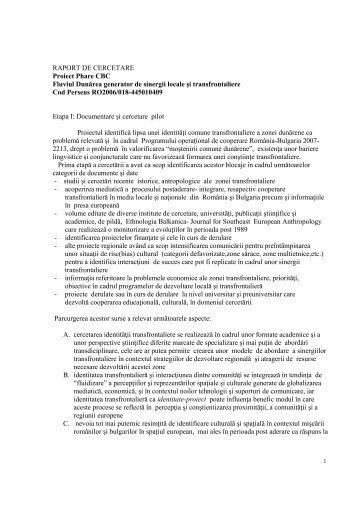 Raport de cercetare [PDF] - Spiritul Dunarii