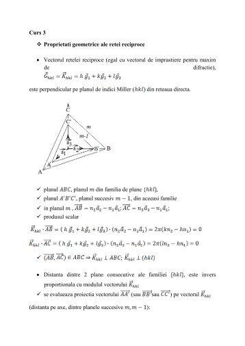Curs 3 Proprietati geometrice ale retei reciproce • Vectorul retelei ...
