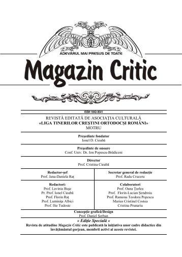 LIGA TINERILOR CREŞTINI ORTODOCŞI ROMÂNI - Magazin critic