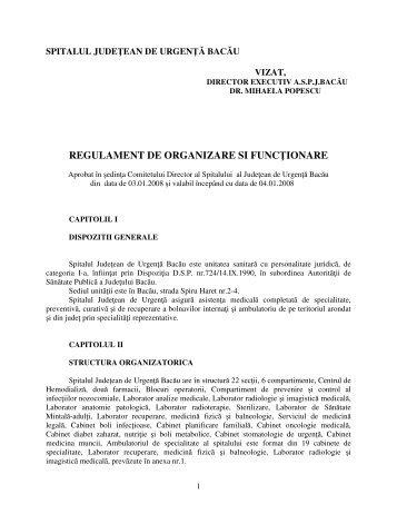 Regulament de Organizare si Functionare - Spitalul de Urgenta Bacau